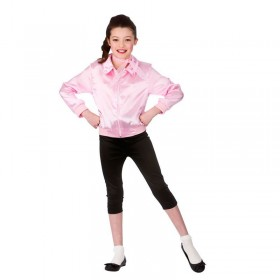 Girls Pink Grease Style T Bird Cutie Fancy Dress Costume