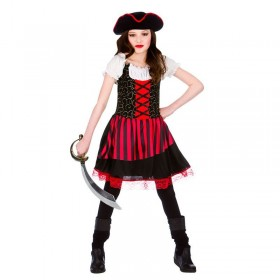 Girls Black & Red High Seas Caribbean Pretty Pirate Fancy Dress Costume