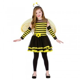 Girls Yellow/Black Animal Bug Book Week Bumblebee Fancy Dress Costume