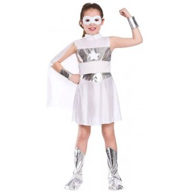 Girls White Avenging Super Hero Fancy Dress Costume