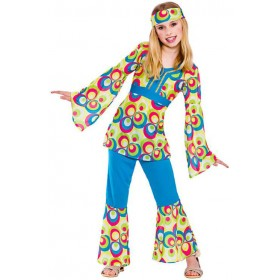 Girls 60'S Retro Hippie Fancy Dress Costume