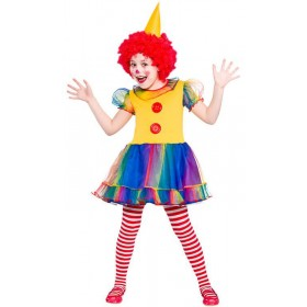 Girls Cute Little Clown Fancy Dress Costume