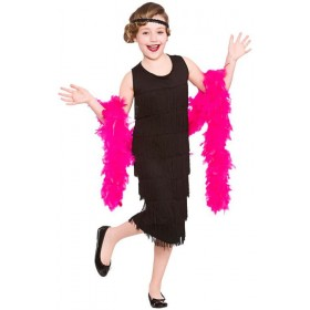 Girls Black Charleston Showtime Flapper Fancy Dress Costume