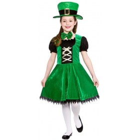 Girls Green Deluxe Lucky Leprechaun Fancy Dress Costume