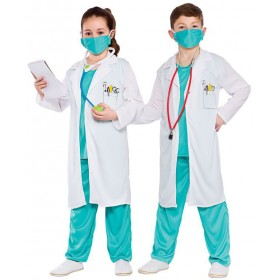 Childs White & Turqouise Unisex Hospital Doctor Fancy Dress Costume