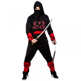 Mens Oriental Dark Ninja Warrior Fancy Dress Costume