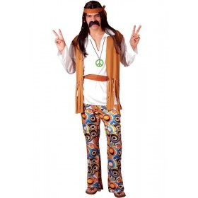 Woodstock Hippie Fancy Dress Costume Mens (1960S)