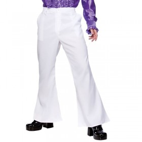 Mens 70'S Disco Flares - White Costume (1970S)