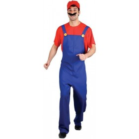 Mens Funny Plumber - Red Costume Fancy Dress (Cartoon)