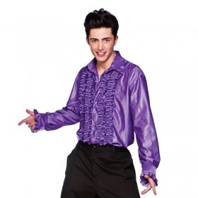Mens Purple Disco Ruffle Shirts Costume (1970S)