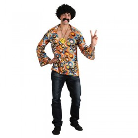 Mens Groovy Hippie Shirt Hippy Outfit (Multicolour)