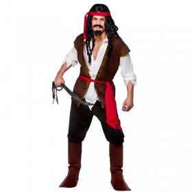 Mens Caribbean Pirate Pirates Outfit (Brown)
