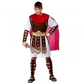 Mens Roman Centurian Roman Outfit (Red, Brown, White)