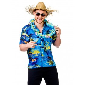 Mens Blue Palm Tree Hawaiian Holiday Shirt Fancy Dress Costume