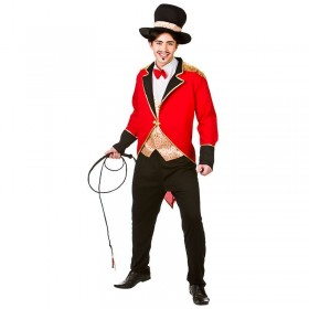 Mens Black/Red Big Top Circus Ringmaster Fancy Dress Costume