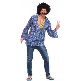 Mens 60's Funky Hippie Shirt Fancy Dress Costume