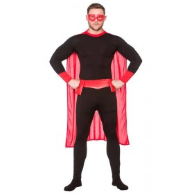 Mens Black & Red Super Hero Fancy Dress Costume