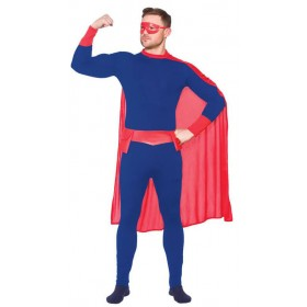 Mens Blue & Red Super Hero Fancy Dress Costume