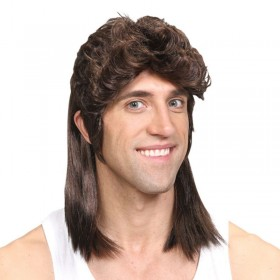 Mens 80'S Mullet - Brown Wigs - (Brown)