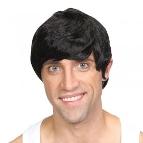 Mens Short Boy Band Wig - Black Wigs - (Black)