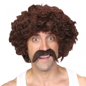 Mens Funny Athlete Set - Brown Wigs - (Brown)