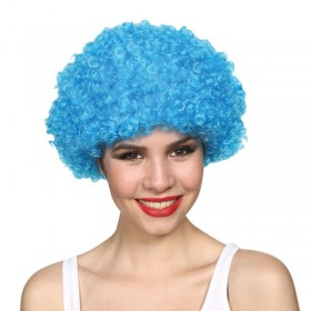 Mens Funky Afro - Blue 120Gm Wigs - (Blue)