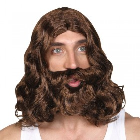 Mens Jesus Wig & Beard Wigs - (Brown)