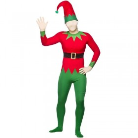 Mens Elf Skinz With Hat Christmas Outfit (Red, Green)