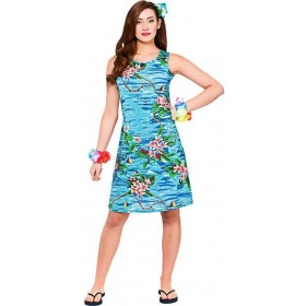Ladies Hawaiian Dress Blue Palm Orchid Print Fancy Dress Costume