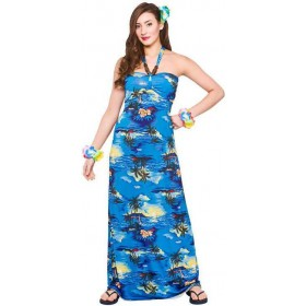 Ladies Hawaiian Maxi Dress Blue Palm Print Fancy Dress Costume