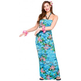 Ladies Hawaiian Maxi Dress Blue Orchid Ocean Print Fancy Dress Costume