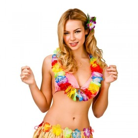 Colorful Aloha Girl Hibiscus Hawaiian Lei Fancy Dress Accessory