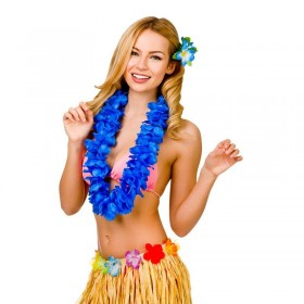 Royal Blue 9.5Cm Petal Hawaiian Hibiscus Lei Garland Fancy Dress Accessory