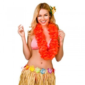 Orange 11.5Cm Large Petal Hawaiian Hibiscus Lei Garland Fancy Dress Accessory