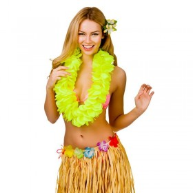 Yellow 11.5Cm Large Petal Hawaiian Hibiscus Lei Garland Fancy Dress Accessory