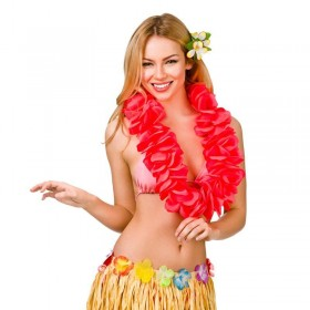 Red/Coral 11.5Cm Large Petal Hawaiian Hibiscus Lei Garland Fancy Dress Accessory