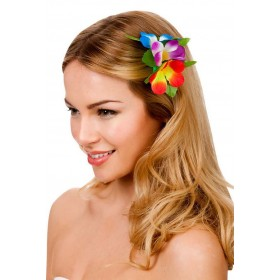 Multicolour Hawaiian Flower Hair Clip Fancy Dress Accessory