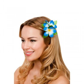 Royal Blue Hawaiian Flower Hair Clip Fancy Dress Accessory