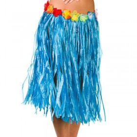 Blue Hawaiian Hula Skirt 60Cm Fancy Dress Accessory