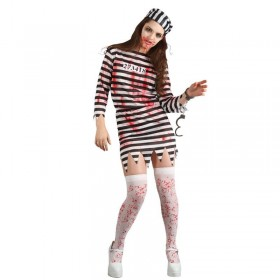Ladies Zombie Convict Cops/Robbers Outfit - (Black, White)