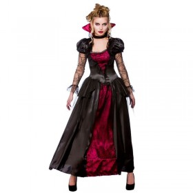 Ladies Vampire Queen Halloween Outfit - (Red, Black)