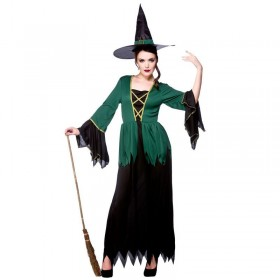 Ladies Cauldron Witch Halloween Outfit - (Black, Green)