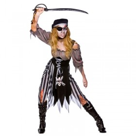 Ladies Zombie Cutthroat Pirate Pirates Outfit - (Black, Grey)