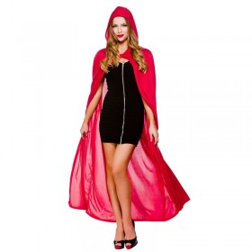 "Ladies Cape With Hood - Red 52"" (132Cm) Halloween Outfit - (Red)"