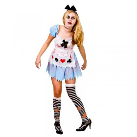 Ladies Alice In Zombieland Halloween Fancy Dress Costume