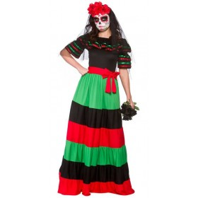 Ladies Day Of The Dead Senorita Halloween Fancy Dress Costume