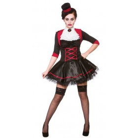 Ladies Black/Red Victorian Vamp Halloween Fancy Dress Costume