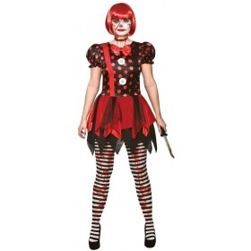 Ladies Red/Black Horror Clown Halloween Fancy Dress Costume