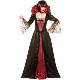 Ladies Gothic Vampiress Halloween Fancy Dress Costume