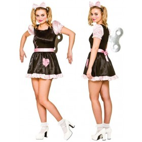 Ladies Wind Up Doll Halloween Fancy Dress Costume